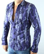 Armani Exchange A|X Mens Fitted Casual Blue Camo Button Front Long Sleeve Shirt
