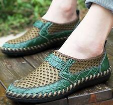 Mens leather mesh hollow out Casual  loafer Shoes breathable Driving Sneakers