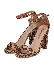 New Women Breckelles Devie-02 Leopard Open Toe Ankle Strap Chunky Heel Sandal