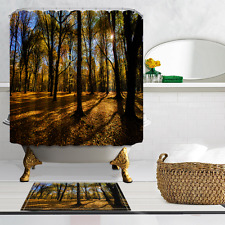 Forest bathed in sunshine Waterproof Fabric Home Decor Shower Curtain & 12hooks
