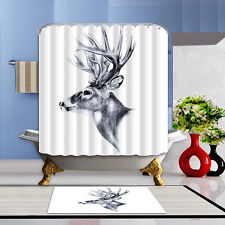 Sketch deer Shower Curtain Home Bathroom Polyester Fabric  & 12hooks 71*71inches