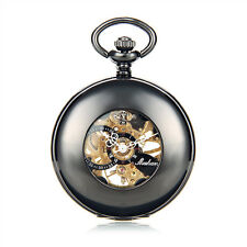 Pocket Watch Mechanical Antique Steampunk Skeleton Chain Gift Mens Windup Retro