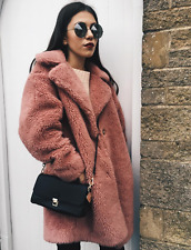 Topshop Dusky Pink Teddy Wool Blend Faux Shearling Fur Coat Vtg UK 6 8 12 14 NWT