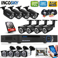 1TB HDD 8CH AHD HDMI DVR Outdoor 2000TVL/1500TVL CCTV Security Camera System UK