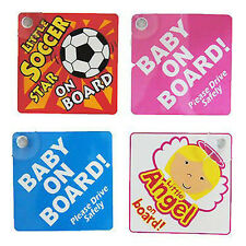 Baby On Board Car Sign With Suction Cup Bright Colour Blue, Pink, Angle And Star