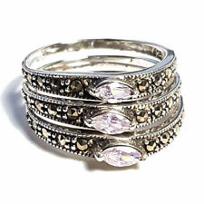 *SIZE 9* Set of 3 STACK RINGS: Purple CZ Stones Marcasite .925 STERLING SILVER