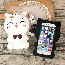 Black White Smiling Cat Soft Silicone Back Gel Case Cover Shell For Many Phones