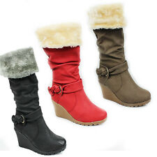 WOMENS LADIES WINTER KNEE HIGH FUR LINED HIGH WEDGE HEEL BOOTS SHOES SIZE 3-8