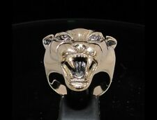BRONZE MEN'S ANIMAL RING WITH THE HEAD OF A VICIOUS PANTHER - US SIzes 6 - 20