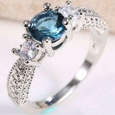 1.4ct Fashion Jewelry Blue Sapphire 925 Silver Wedding Bridal Ring Size 7-9