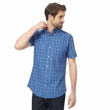 Maine New England Mens Big And Tall Blue Checked Tailored Fit Shirt
