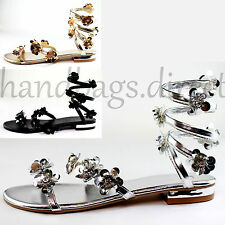 Womens New Flat Sandals Ankle Strap Flower Metallic Summer Beach Strappy Shoes