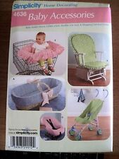 NEW SIMPLICITY SEWING PATTERN 4636 BABY ACCES. CART CAR SEAT & CHAIR COVER UNCUT