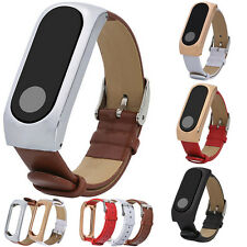 Sale~Leather Watch Strap Bracelet For Xiaomi Mi Band 2 Wrist Band+Metal Frame