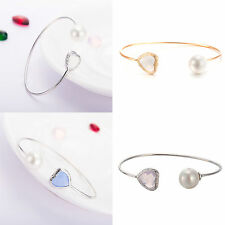 New 18K White Gold Filled Love Heart Bracelet Crystal & Pearl Charms Cuff Bangle