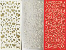 LoveHEARTS Small PEEL OFF STICKERS Double Single Hanging Valentine Wedding