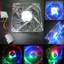 Quad 4-LED Blue Light Neon Quite Clear 80mm PC CPU Computer Case Cooling Fan 12V