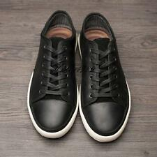 Mens youth real leather flat lace up low top casual shoes@brown#US size