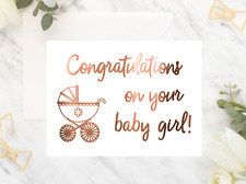 Baby girl card / New parents gift / Copper foil card / Congratulations gift card