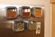 Magnetic Spice Tins and Jars - Clear Window, Round, Square, Heart Shaped - 5 pcs