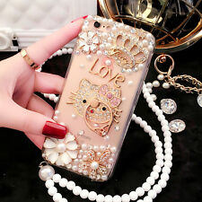 Lovely Crown Rhinestone Diamond Ring Stand Bling Pearl Case Cover For Phones