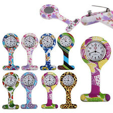 LOVELY SILICONE NURSES BROOCH TUNIC FOB POCKET WATCH STAINLESS DIAL FADDISH