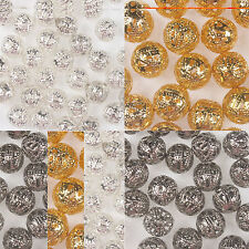 4/ 6/8/10/12mm GOLD SILVER Cinnamon PLATED FILIGREE Spacer Metal BEAD
