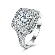 Women Platinum Plated Gemstone Square Band Silver Ring Bridal Wedding Jewelry
