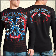 Xtreme Couture Hawkeye Tribal Wings Script Mens Long Sleeve Thermal Black S-3XL