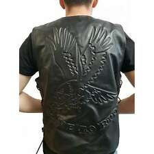 Veste Gilet Biker Cuir Aigle Live To Ride Leather vest moto custom  trike lacets