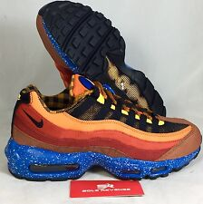 11 NEW  Nike Air Max 95 Premium Running Shoes Red Brown Blue Black 538416-600