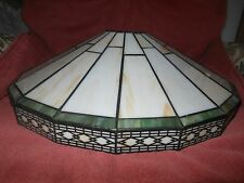 Amber Cream Stained Glass / Slag Glass Lamp Shade Beautiful Wide Deco Modern