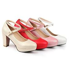Womens Platform High Heels Chunky Club Cros Strap Pumps Dating Party Shoes