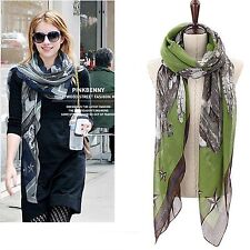 Women Chic Voile Soft Blue Green Pink Angel Star Print Wrap Pashmina Shawl Scarf