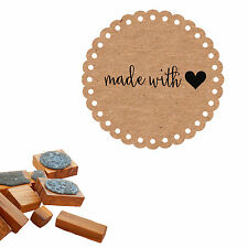 Made with Love (heart) Olive wood Craft Stamp / Clear Unmounted