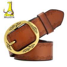 Genuine leather belts for women Vintage metal pin buckle wide belt brand Fashion