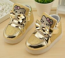 New Princess Girls Shoes Children Kids Fashion Shoes Hook Loop Light Up Sneakers