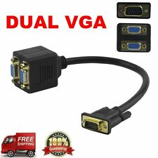 RGB VGA Male to 2 VGA HD 1080P Female Splitter Adapter Extension Cable BS