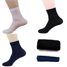 Mens Socks soft Ultra-Thin Male Breathable  Bamboo Fiber Socks Solid 2 Pairs