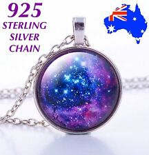 Galaxy Space Nebula Glass Cabochon Pendant 925 Sterling Silver Chain Necklace