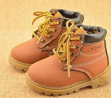 Brown Boys Girls Winter Warm Snow Boots Casual Fur Lined Laced Shoes Kids Baby