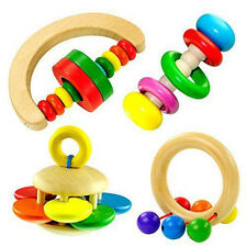 1PC Baby Wooden Bell Rattle Toy Hand bell Musical Educational Toy Instrument