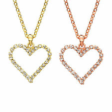 14K Gold or Rose Gold Plated Crystal Heart Necklace