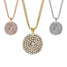 14K Gold, Rose, or Rhodium Plated Large Round Crystal Stud Pendant Necklace