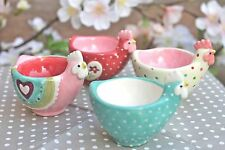GISELA GRAHAM EASTER TREATS PASTEL SPOTTY HEART CERAMIC HEN EGG CUP
