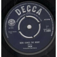 """THEM Here Comes The Night 7"""" VINYL UK Decca 1965 Four Prong Label Design"""