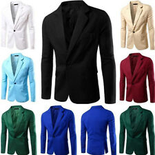 New Mens Casual Slim Fit Formal One Button Suit Blazer Coat Jacket Tops Suit UK