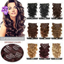 70g Full Head Clip In Human Hair Brazilian Body Weave Wave Weft Hair Extensions
