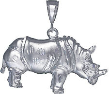Sterling Silver Large Rhino Charm Pendant Necklace Diamond Cut Finish with Chain