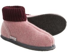 WESENJAK Boiled Wool Slippers PINK  with WINE CUFF for Womens Size 10.5 Womens